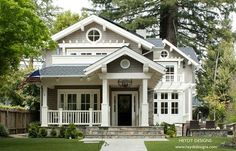 An 80s home gets transformed. This (the after photo) shows an adorably transformed home. Craftsman Cottage style home.