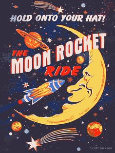 'Rocket Moon Ride (vintage)' Canvas Print by Scott Jackson - Rocket Moon Ride (vintage) by Scott J Collage Mural, Bedroom Wall Collage, Photo Wall Collage, Picture Wall, Retro Wallpaper, Aesthetic Iphone Wallpaper, Aesthetic Wallpapers, Vintage Wallpapers, Aesthetic Backgrounds