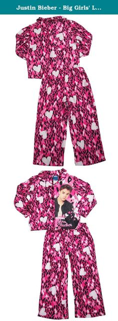 Justin Bieber - Big Girls' Long Sleeve Justin Bieber Pajamas, Pink 34441-10. Justin Bieber - Girls Long Sleeve Justin Bieber Pajamas, Pink, Coat Style Top, Rounded Collar, Leopard Print with Justin Bieber and Future Mrs Bieber Graphic, Full Elastic Waistband Pant, Leopard and Hearts Print, Flame Resistant, 100% Polyester, Made in China, #34441 34-441.