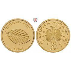 Bundesrepublik Deutschland, 20 Euro 2011, A, 3,89 g fein, st: 20 Euro 3,89 g fein, 2011 A. Der Deutsche Wald, Buche. 1/8 Unze. GOLD,… #coins