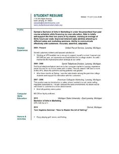 students first job resume sample college student resume