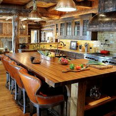 RP: Rustic Kitchen - large island with seating, and open to dining room and [if it's too much to ask] the living room