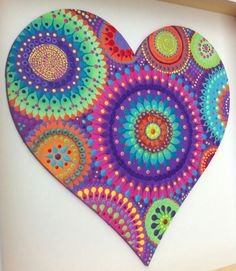 """Retro & Lime"" mixed media heart by Em J Reed at Artichicks"