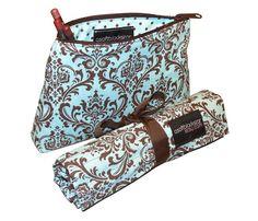 Chocolate brown and robin's egg blue damask makeup brush roll and makeup bag travel set by #asoftblackstar on #Etsy