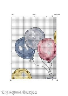 Cross-stitch Baby Elephant with Balloons, part no color chart available, just use the pattern chart as your color guide. Baby Cross Stitch Patterns, Cross Stitch Pillow, Cross Stitch For Kids, Cute Cross Stitch, Cross Stitch Bird, Cross Stitch Animals, Cross Stitching, Cross Stitch Embroidery, Elephant Cross Stitch