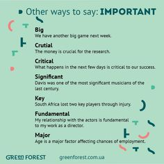 Other ways to say: Important