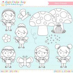 fairy digital stamps fairies clipart clip art by DigitalBakeShop, $5.00