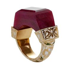 www.bkgjewelry.co… Jade Jagger NeverEnding Ruby Enamel Ring | From a unique collection of vintage more rings at www.1stdibs.com/…