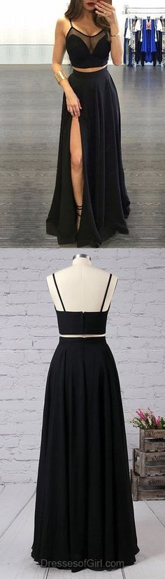 Hot A-line Scoop Neck Tulle Chiffon Floor-length Split Front Black Two Piece Prom Dresses