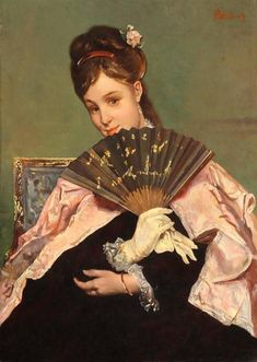 Madame de Pompadour (Portrait of a young Lady holding a fan by Alfred. Alfred Stevens, James Ensor, European Paintings, Portraits, Whistler, Art Themes, Poses, Figure Painting, Paintings For Sale