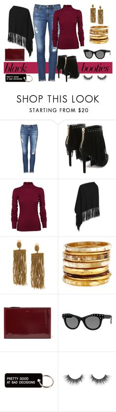 """Maroon & Black Fringe"" by rochelle-cornelius-earp ❤ liked on Polyvore featuring AG Adriano Goldschmied, Pierre Balmain, Theory, Armani Collezioni, Oscar de la Renta, Ashley Pittman, DKNY, Italia Independent, Various Projects and blackbooties"