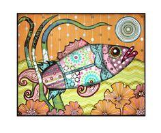 mixed media, collage, Fish, Sea, Ocean, Teal, Pink, Orange, Nautical, Nursery, happy, fun, beach  - Fine Art Print 8x10