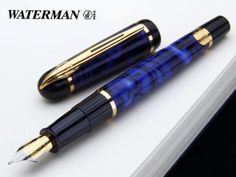 My first fountain pen was a blue marbled pen (though this is many years after mine.) It came secondhand from someone in Hartlepool probably auntie, but I have a feeling it was Grandad. I was told to look after it and that it was a good make. WATERMAN-PHILEAS-BLUE-MARBLE-FOUNTAIN-PEN-IN-BOX-FINE-POINT