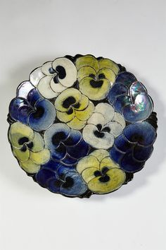 Dish designed by Birger Kaipiainen for Arabia, Finland. Blues and soft yellow - lovely inspiration. Ceramic Artists, Ceramic Painting, Nordic Design, Scandinavian Design, Ceramic Plates, Ceramic Pottery, Ceramic Flowers, Plates And Bowls, Vintage Pottery