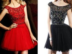 2014 short red tulle prom dresses with rhinestone and sequins,cheap beaded homecoming gowns in blue,stunning black dress for holiday party.