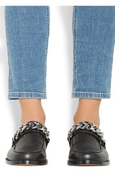 Givenchy - Chain-trimmed Leather Slippers - Black - IT40.5