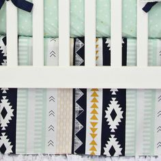 Aztec Gold 2pc Crib Set - For the on trend baby: Aztec bedding is a perfect gender neutral option in the nursery!