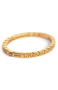 Carved inside and out with the iconic Greek-key pattern, this Italian-made bangle brings signature Versace opulence to your wrist stack. Style Name:Versace Greek Key Bracelet. Style Number: Available in stores. Versace Bracelet, Versace Jewelry, Luxury Jewelry, Mens Gold Bracelets, Mens Gold Jewelry, Mens Jewellery, Versace Gold, Versace Ring Mens, Versace Men