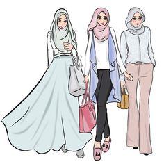 New Fashion Design Hijab Sketches Ideas - Bkn Medya Muslim Fashion, Hijab Fashion, Fashion Outfits, Fashion Muslimah, Trendy Fashion, Fashion Art, Girl Fashion, Fashion 2020, Fashion Design Drawings