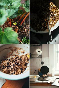 blueberry spelt waffles w/ rhubarb cashew cream & turmeric granola (vegan) - The First Mess
