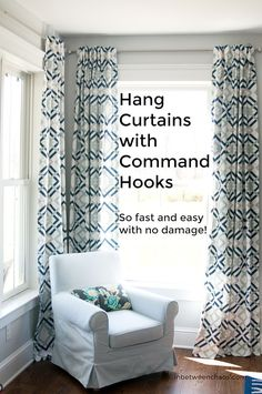 Fastest Way to Hang Curtains - with no drills, anchors, levels, damage or headaches! | inbetweenchaos.com