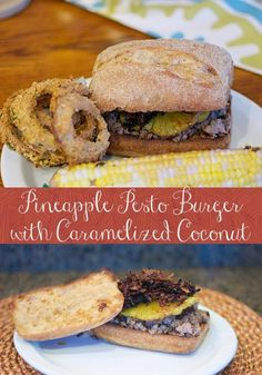 Pineapple Pesto Burger with Caramelized Coconut. Tasty and unique burger that's a little sweet, a little spicy and a whole lotta good. Burger Recipes, Grilling Recipes, Beef Recipes, Unique Recipes, Great Recipes, Favorite Recipes, Dinner Recipes, Burger Dogs, Beef Burgers