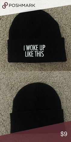 "Rad beanie Rad. Black beanie. ""I woke up like this"". Worn a few times but in excellent condition. Rad. Accessories Hats"