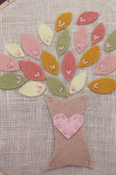 Embroidery Hoop Art Felt Tree with Pink Heart  MADE TO ORDER by Catshy Crafts. , via Etsy.