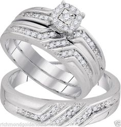 White Gold His Her Men Woman Diamond Pave Wedding Ring Bands Trio Set(0.28ct. tw)- RG331124855486