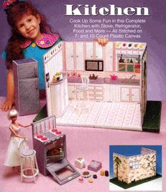 Plastic Canvas Books, Plastic Canvas Crafts, Plastic Canvas Patterns, Play Barbie, Barbie Dolls, Dk Weight Yarn, Barbie Accessories, Doll Furniture, Vintage Knitting