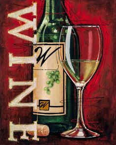 White Wine Tasting Canvas Art - Bruce Langton x Wine Craft, Wine Bottle Crafts, Wine Painting, Paint And Sip, Wall Art For Sale, Easy Paintings, White Wine, Art Projects, Original Art