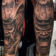 Samurai mask by bruno Mattos @brunomattostattoo insta #brunomattostattoo