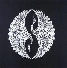 Pannello batik giapponese Indigo Two Cranes … - Arte Deco Japanese Patterns, Japanese Art, Japanese Crane, Japanese Prints, Tattoo Japanese, Japanese Drawings, Japanese Sleeve, Tattoo Studio, Crane Tattoo