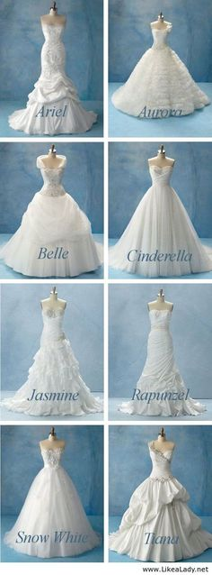 Disney Wedding Dresses. LOVE THEM ALL!! SO HARD TO PICK A FAV!!!