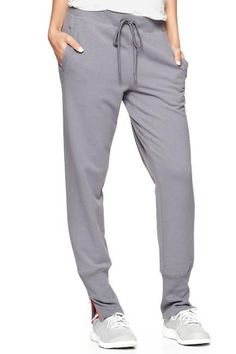 Grey GapFit Contrast-Zip Fleece Sweatpants