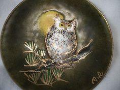 * Owl dish copper on enamel signed MR for Margaret Ratcliff Stone Mountain, GA