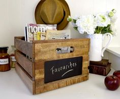 Wooden Storage box with chalkboard  Love it!  For any room in the house