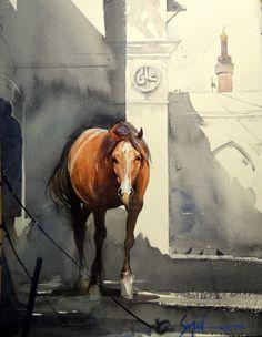 "Sajid Qureshi ""Horse"" #watercolor #art"