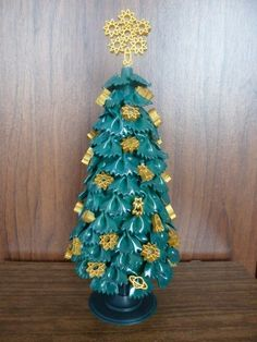 diy tabletop tree christmas gold ornaments ribbons bow tie pasta