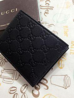 Gucci-Men-333042-Black-Nylon-GG-Guccissima-Bifold-Wallet-NEW-Authentic