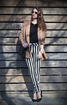 Black and White Striped Jeans from Blanco SS13    #fashion #style #jeans #strip