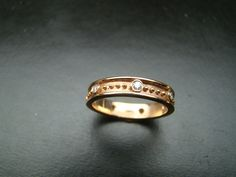 14k Pink gold beaded band diamond band ring by Xidni on Etsy, $435.00