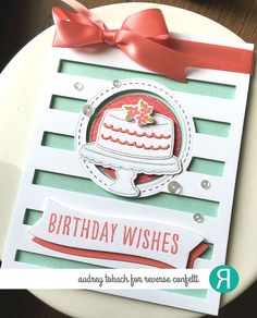 Card by Audrey Tokach. Reverse Confetti stamp sets: Candles 'n Confetti and Celebrations. Confetti Cuts: Big Stripes Cover Panel, Candles 'n Confetti, Detailed Circles, and Flowers for Mom. Quick Card Panels: Party Time. Birthday card. Friendship card.
