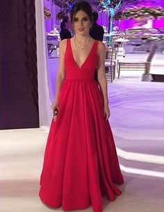 Red Prom Dress,V-neck Red Graduation Dress,Red Party Dress,A-line Evening Dress,Red V-neck Formal Dresses Open Back Prom Dresses, Formal Dresses For Teens, Best Prom Dresses, Long Prom Gowns, Backless Prom Dresses, Party Dresses, Dress Long, Red Formal Dresses, Plus Size Prom Dresses
