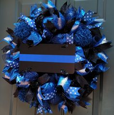 Thin Blue Line Wreath, Police Wreath, Front Door Wreath, Law Enforcement Wreath, LEO, Wreaths, Deco Mesh Wreath, Wreath by ChanceyCreations on Etsy