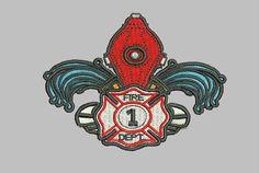 GG1108 Fireman Fleur de lis embroidery design by GnGDesigns