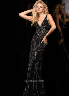 Scala 47680 Sultry V-Neck Gown  $378