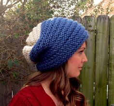 Hand knit hat slouchy hat slouch hat colorblock or by DesignByEJ, $25.00