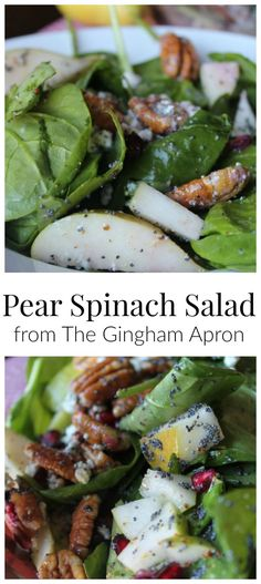 Pear and Spinach Salad- refreshingly simple with a delicious dressing! We substitute blue cheese for the feta cheese.