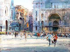 """David Taylor (Australia born 1941) Master Watercolorist ~  """"The Brief and the Busy, Venice"""""""